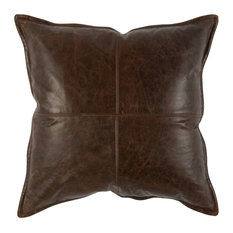 "Cheyenne 100% Leather 22"" Throw Pillow, Chocolate Brown by Kosas Home"