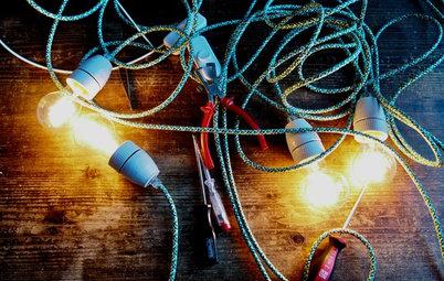 DIY: Minimalistischer Adventskranz aus Textilkabeln & Glühbirnen