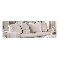 Acamar Contemporary Style Cream Low Profile Back Finish Sofa
