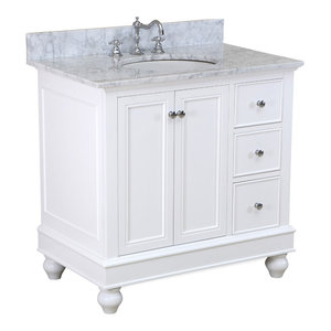 "Bella Bath Vanity, Base: White, 36"", Top: Carrara Marble"