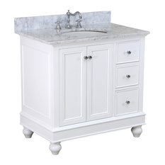 "Kitchen Bath Collection - Bella Bath Vanity, White, With Carrara Marble, 36"" - Bathroom Vanities and Sink Consoles"