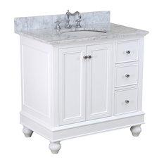 Kitchen Bath Collection   Bella Bath Vanity, Base: White, Top: Carrara  Marble