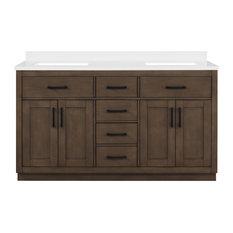 "OVE Decors Bailey 60"" Double Sink Bathroom Vanity With Power Bar, Almond Latte"