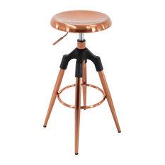 Backless Round Adjustable 4-Legged Metal Barstool, Rose Gold