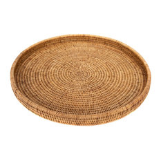 Artifacts Rattan™ Round Serving/Ottoman Tray, Honey Brown, Large