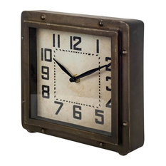 Mercana Furniture and Decor - Mercana Industrial Table Clock, Bronze - Desk and Mantel Clocks