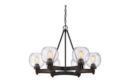 Galveston 6-Light Chandelier, Rubbed Bronze With Seeded Glass
