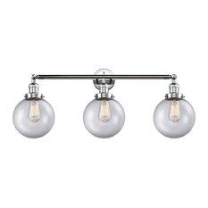 3-Light Bath Light Polished Chrome With LED Vintage Bulbs