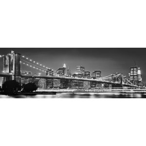 Brooklyn Bridge Black and White Skyline Photo Wall Mural, 368x124 cm