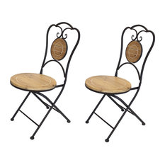 French Cafe Bistro Folding Chair, Black Metal Frame, Wood Round Seat, Set of 2