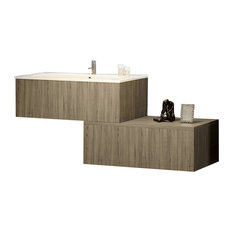 Materia 2-Drawer Vanity With Towel Rail and Resin Washbasin, Dark Gray