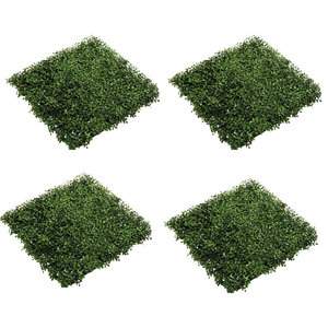 Set of 4 Emerald Artificial Grass Boxwood Mats, Green, 50x50 cm