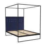 Federico King Canopy Bed, Midnight Blue Velvet, Black Base