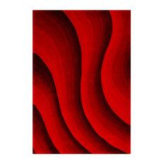 Casablanca Red Wave Floor Rug, 200x140 cm