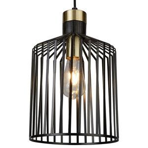 Bird Cage Single Pendant, Black and Gold