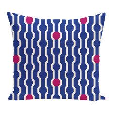 "Nuts And Bolts, Decorative Geometric Print Pillow, Royal Blue, 16""x16"""