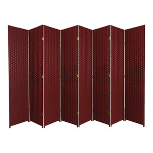 7' Tall Woven Fiber Room Divider, Red/Black, 8 Panel