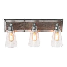 LNC 3-Light Wood Wall Sconces Indoor Wall Lamps Glass Bathroom Vanity Lighting