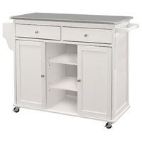 Kitchen Cart With Stainless Steel Top, Gray and White