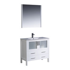 Fresca Torino Modern Bathroom Vanity With Integrated Sink, Mirror, White, 36""