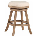 Boraam Industries Inc - Fenton Swivel Stool, Driftwood Wire-Brush, Counter Height - The Swivel Fenton Counter Stool from Boraam Industries, Inc. boasts a solid hardwood footrest and upholstered cushioned seat. Boasting a 360-degree swivel mechanism, this piece has been designed with your comfort in mind. This stool also features a high-density foam seat cushion upholstered in ivory. Exuding a warm, luxurious feel, thanks to its rich colors and sumptuous textures, this stool from Boraam Industries, Inc. makes a sophisticated addition to any interior space.