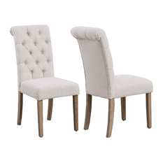 High Back Linen Ivory Tufted Upholstered Dining Chairs Set Of 2 Beige