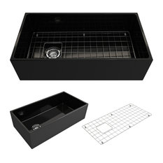 "36"" Single Bowl Kitchen Sink With Protective Bottom Grid, Strainer, Black"