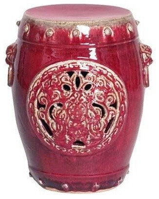 Delightful Red Dragon Medallion Garden Stool   Accent And Garden Stools
