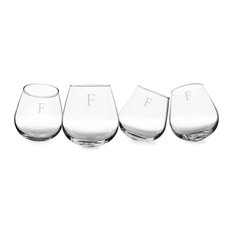 Personalized 12 Oz. Tipsy Wine Glasses, Set of 4, F
