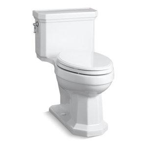 Kohler Kathryn 1-Piece Compact Elongated 1.28 GPF Toilet, Left-Hand Lever, White