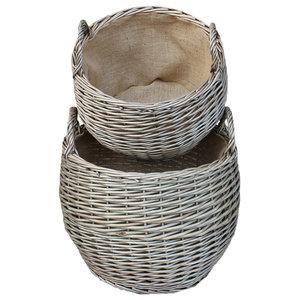Antique Wash Stumpy Basket, Set of 2