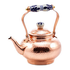Solid Copper Hammered Tea Kettle With Ceramic Knob/Handle, 2 Qt.