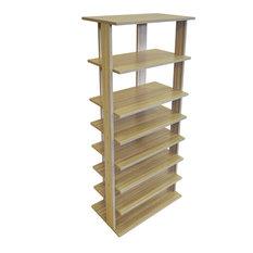 Stacked 7-Tier Free Standing Shoe Storage Shelf, Light Oak