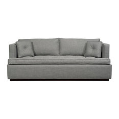 Duralee Furniture - Maxwell Boxed Back Sleeper Twin, Putty - Sleeper Sofas