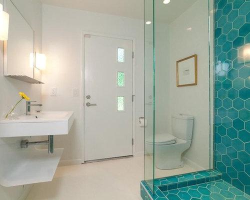 Foto e Idee per Bagni - bagno moderno con pavimento alla veneziana