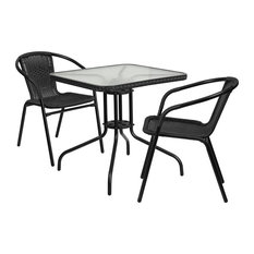 Skovde 3-Piece Table Set Square 28'' Glass With 2 Black Rattan Stack Chairs