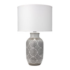 Beatrice Table Lamp, Gray Ceramic With Classic Drum Shade, Stone Linen