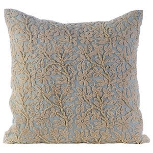 Blue Cotton Linen 30x30 Pearls & Crochet Lace Cushions Cover, Floral Jaal