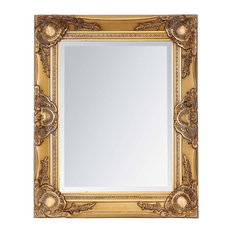 Traditional Wall Mounted Mirror With Solid Wood Frame, Antique Gold