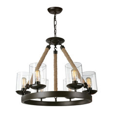 Industrial  6-Light Glass Rope Lighting Fixtures Chandelier