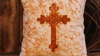 Rusty Western Cross Pillow