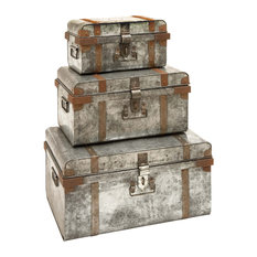 Metal Galvinized Trunk, 3-Piece Set