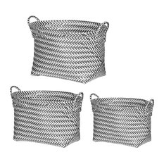 Organic Elements Casual 3-Piece Basket Set, Gray