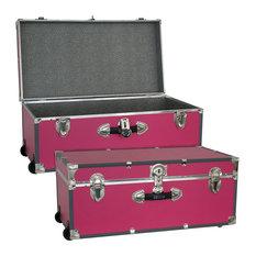 """Seward Trunk Footlocker with Wheels, Pink, 30"""""""