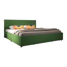 Novogratz Kelly Upholstered Bed With Storage, Green Linen, King
