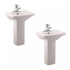 2 Children's White Pedestal Sinks Vitreous China Set of 2