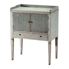 - Lorelei Spindle Leg French Country Blue Gray Wash Side Table - Nightstands and Bedside Tables