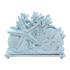 "Rustic Light Blue Cast Iron Seashell Napkin Holder, 7"""