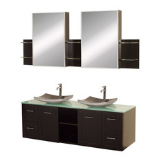 """Wyndham Collection 60"""" Avara Espresso Double Sink Vanity With Green Glass Top"""
