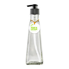 Couronne Co. Pyramid 6oz Recycled Glass Lotion/Soap Bottle, Clear